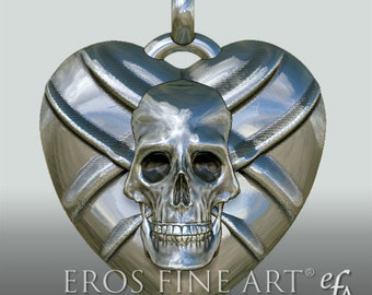 "Heart pendant ""Skull with swords"" - Exclusive silver pendant - Heart pendant - Gothic - Dark - Cult"