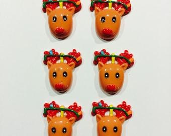 6 reindeer resins...Rudoplf Buttons