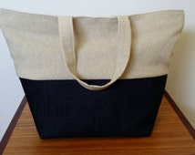 Denim and cotton lunch bag
