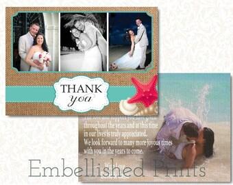 Burlap Wedding Thank You Card