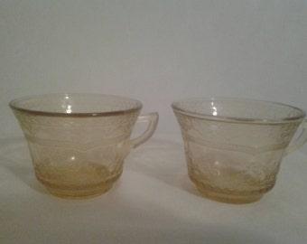 Vintage Amber Madrid Cups
