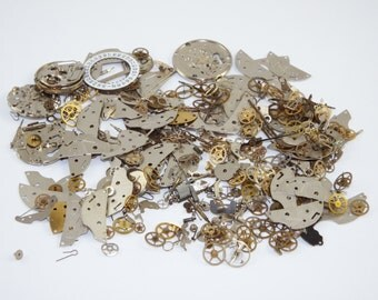 50g STEAMPUNK watch parts jewellery altered craft art cyberpunk cog wheels