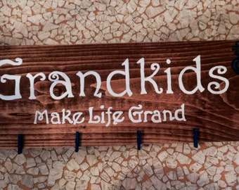 "Hand painted/crafted wooden sign ""Grandkids make life grand"""