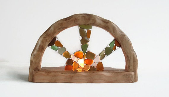 Waldorf inspired wooden candle holder - Sea glass sun catcher - Sea glass candle holder - Sea glass sun - Waldorf home decor