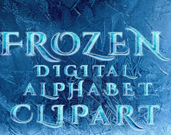 Frozen Alphabet Clipart - Frozen Letters Numbers Clipart Scrapbooking Invitations Printable Graphic INSTANT DOWNLOAD 300 dpi Commercial use