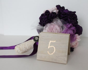 Hand Painted Tented Wood Table Numbers | 4x4 | White Washed Wood