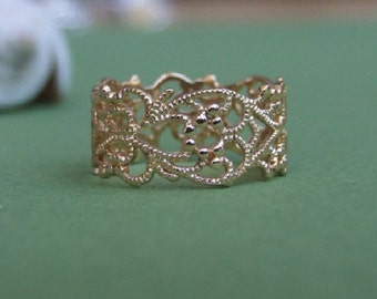 Gold Ring, Gold Lace Ring, Yellow Gold Ring