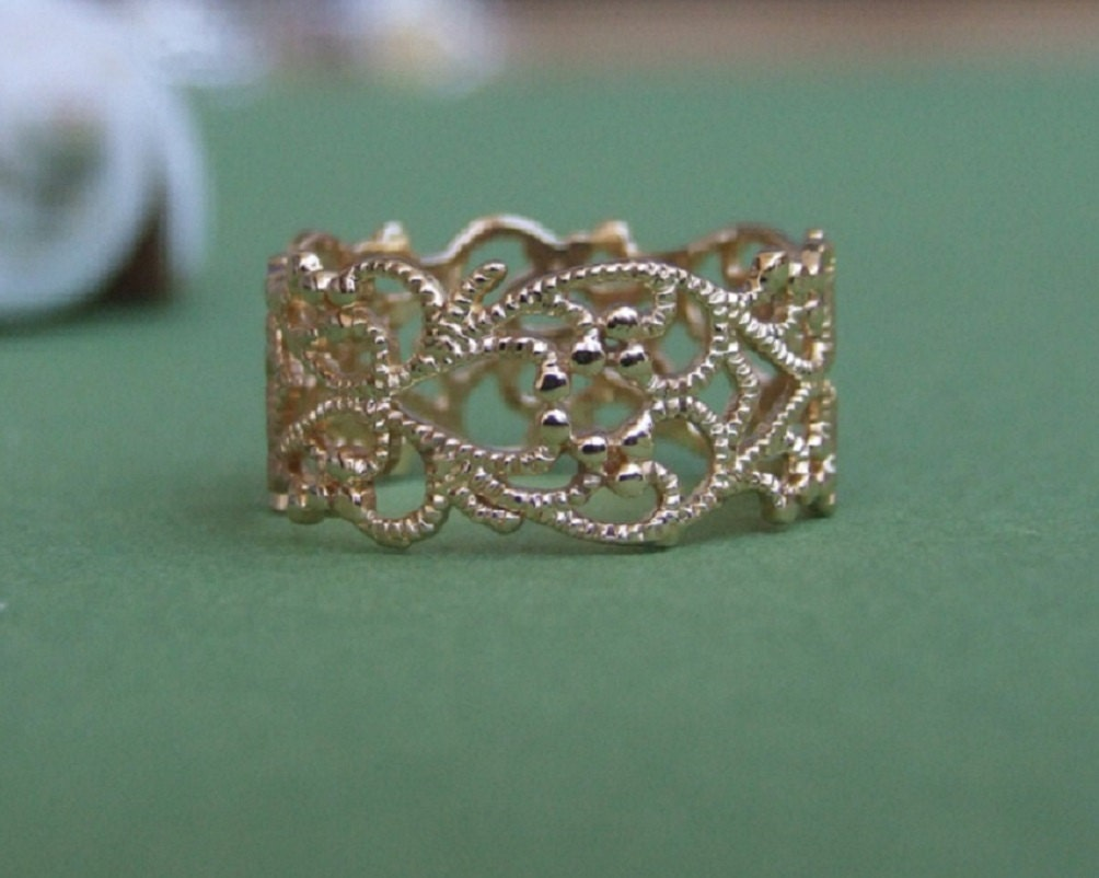 gold ring gold lace ring yellow gold ring