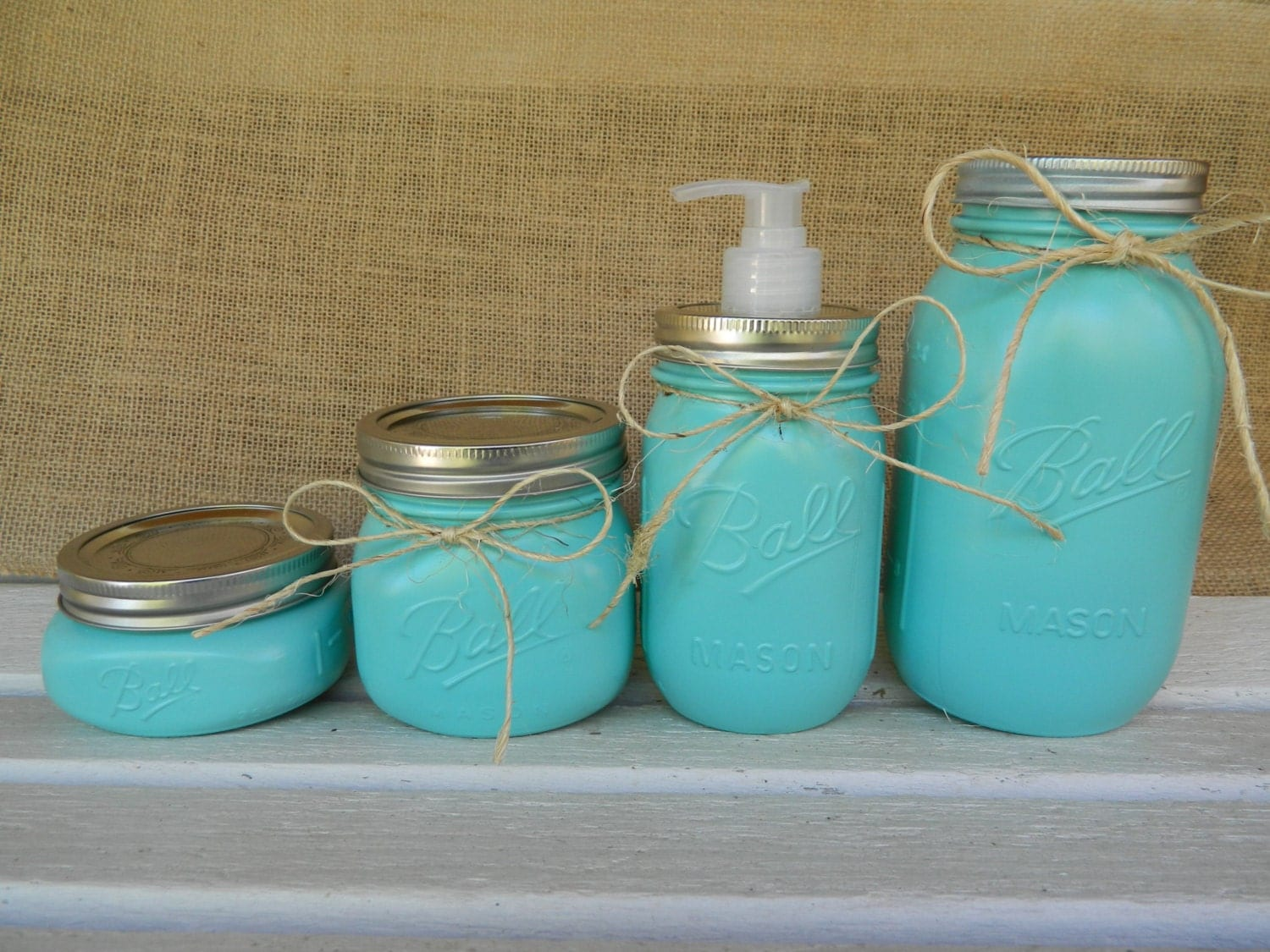 Mason jar bathroom set home decor ball jar mason jar for Bathroom decor mason jars
