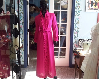 Donald Davies vintage 1970s wool dress in fuschia with ruffle for women