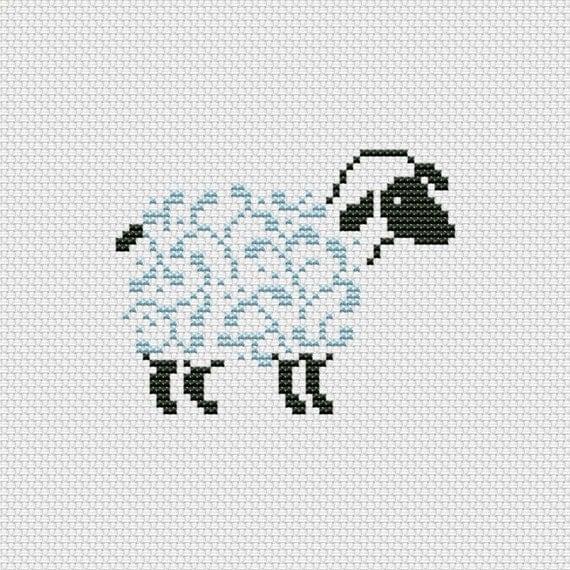 Cross stitch pattern PDF - Sheep, silhouette