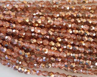 25 6mm Apollo Gold Czech glass beads, crystal and gold firepolished, faceted round beads, C9425