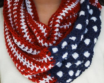 American Flag Circle Scarf with full 50 stars~ Show Your Stripes Flag Circle Scarf