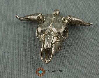 Bull Skull Pendant Solid White Bronze Sterling Silvered Bronze 000-492