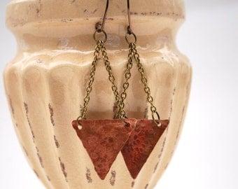 Hammered Copper Dangle Earrings, Rustic Jewelry, Mixed Metal Earrings, Modern Chandelier Earrings, Metal Jewelry by EmmaLeah Designs