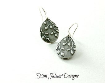Falling leaves fine silver dangle earrings As seen on Bones and Sleepy Hollow