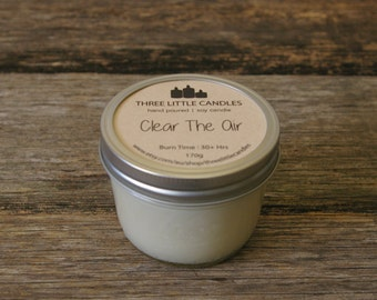 Clear The Air Soy Candle - Hand Poured - Half Pint Mason Jar