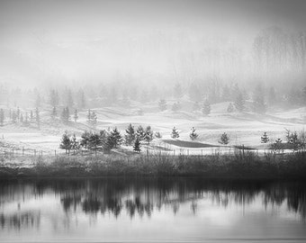 Digital download. Black and White Winter lake. Image size 4584 x 3080