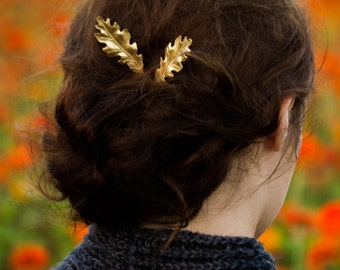 Oak Leaf Bobby Pins Gold Oak Leaf Hair Pin Woodland Oak Leaf Hair Pin Fall Fall Wedding Fall Hair Accessories