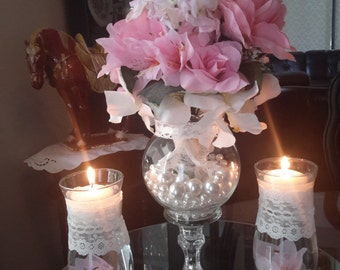 VIntage Shabby Chic Wedding Centerpiece with Floating Candle Set