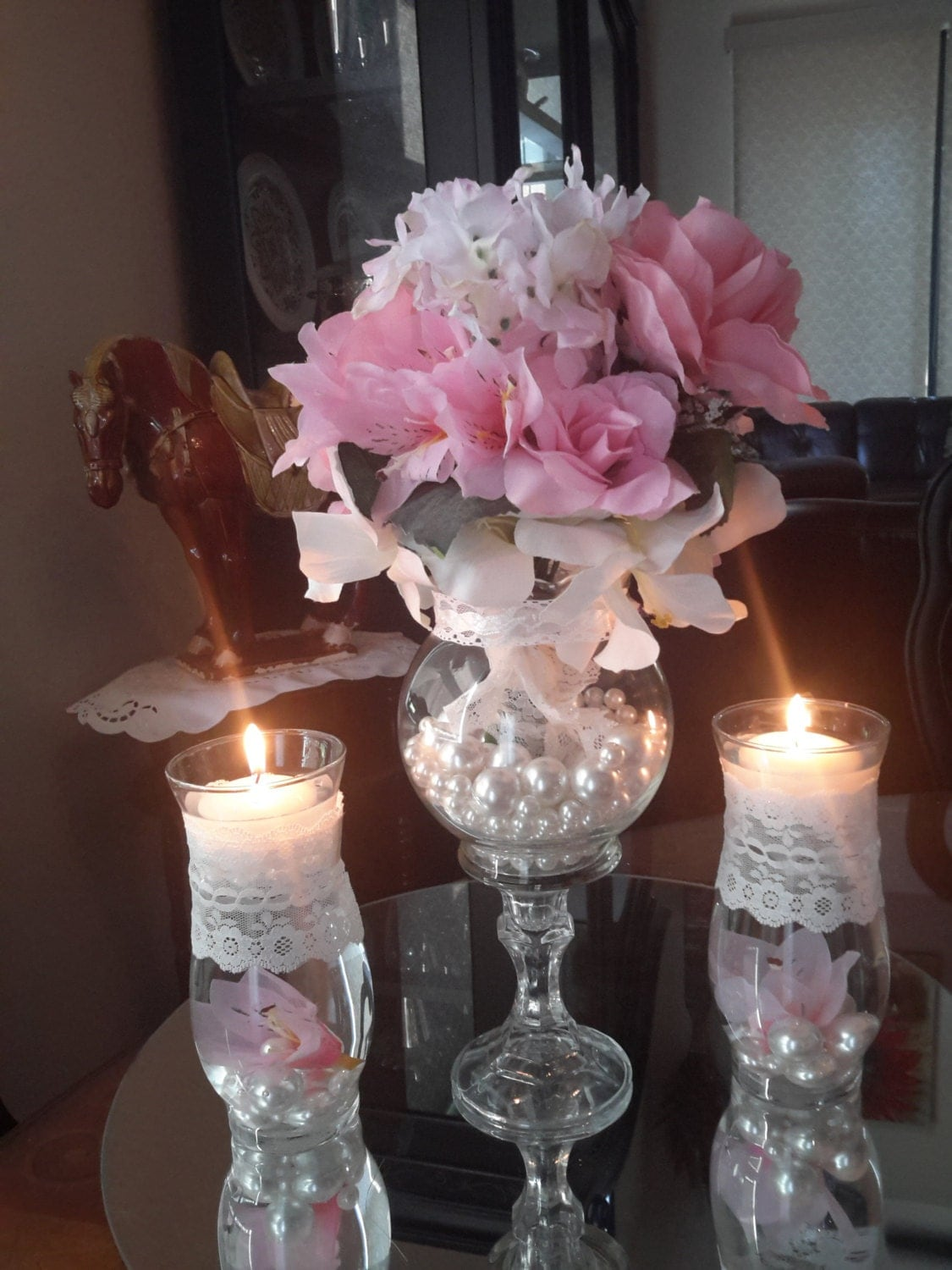 vintage shabby chic wedding centerpiece with floating candle. Black Bedroom Furniture Sets. Home Design Ideas