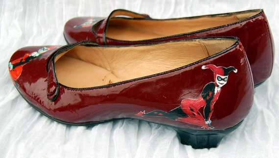 Items Similar To Harley Quinn (Batman) Red Patent Leather Mary Jane Ballet Flats DC Comics Cute ...