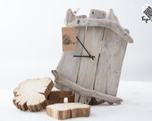Handcrafted driftwood wall clock