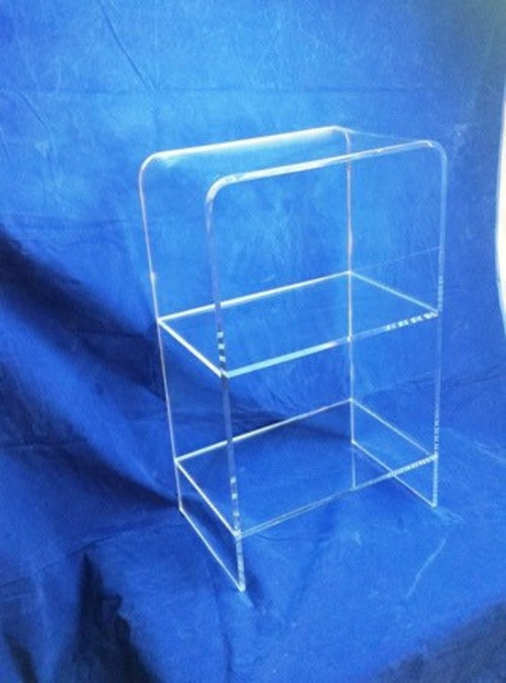 Clear Acrylic Lucite Waterfall Style Freestanding 3 Shelf