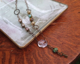 Key to your heart, picasso czech glass beads, antiqued bronze key pendant