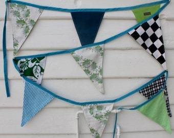 Boys bunting, checks, spots, plain, cotton, 339.5 cm, indoor outdoor, party , bedrooms, one of a kind