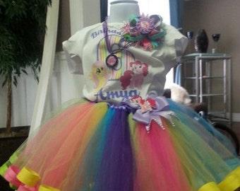 Candy Land Rainbow Ribbon Tutu , pinky pie tutu set