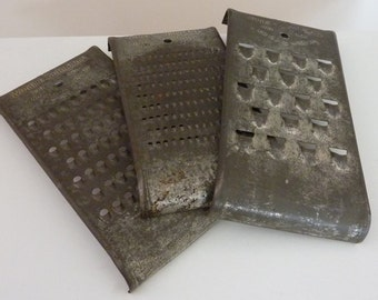 VINTAGE METAL GRATERS set of 3, Wonder Shredder, 1930s Different sized openings: fine, medium large.