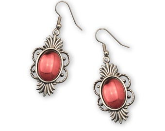 Blood Red Cabochon in Victorian Frame Medieval Renaissance Earrings #1014R
