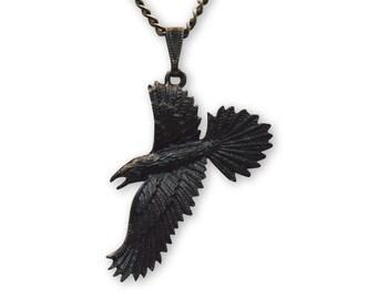 Black Raven Gothic Pewter Pendant Necklace NK-617