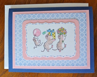 Birthday Card, Handmade Mouse Birthday Card, Mother's Day Card, Have a Micey Nice Day, Cute Mice Greeting Card, Paper Handmade Greeting Card