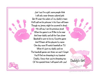 "Daddy's Girl©  Baseball Sports Poem Print Baby Handprints 8 x 10"" Print ~ First FATHER'S Day Keepsake Gift"
