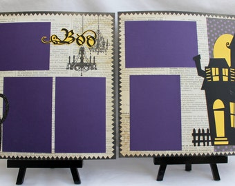 5 Dollar SALE - Two 12x12 Premade Pages and DIY Kit - BOO