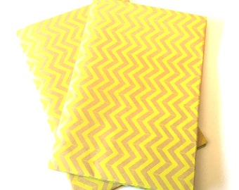 Extra Large Sheet of Bright Yellow Chevron and Kraft Wrapping Paper Gift Wrap