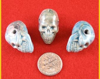 Raku Ceramic Peruvian Skull Beads - Lot of 3