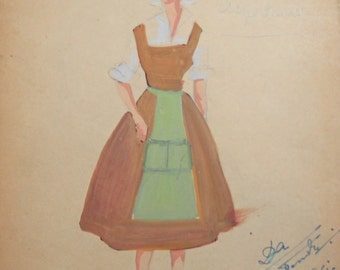 1961 Gouache painting woman folk theatre costume design signed