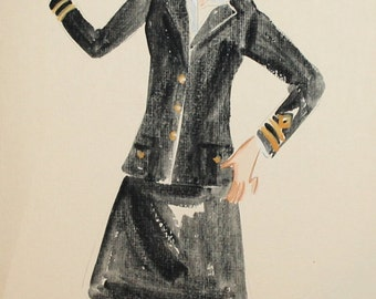 Vintage wc painting stewardess theatre costume design signed