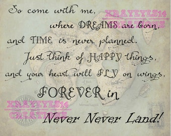 "So Come with me...""  Peter Pan Quote Printable"