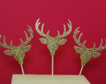 12 Gold Glitter Deer Head With Antlers Cupcake Toppers Christmas Party Picks