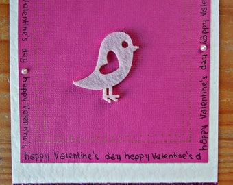 Valentine's Card - Pink birdy