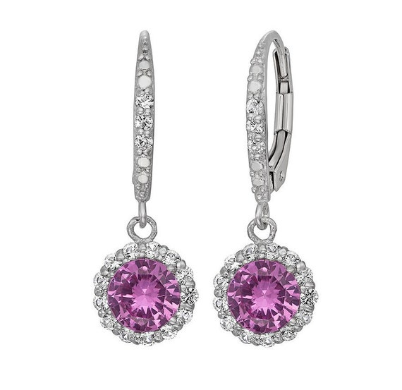 Items similar to Pink & White Sapphire Drop Earrings on Etsy