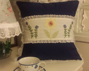 Wow 25% OFF Navy Blue Flower Appliqued Pillow Cover.......now 9.00