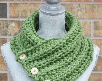 The 'Wanda' Cowl, Chunky Crochet Winter cowl, Green