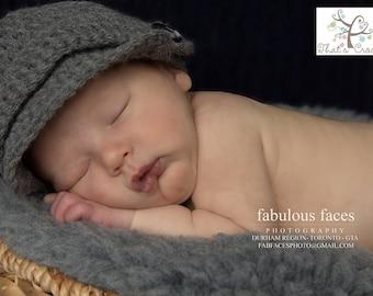 Newborn Newsboy hat, Newborn photography prop, newborn boy, crochet hat, brimmed hat
