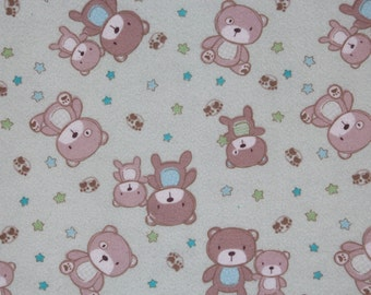 Baby Crib Sheet or Toddler Bed Sheet with Teddy Bears (Flannel)