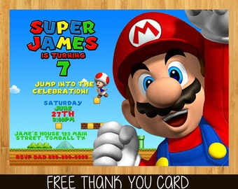 SUPER MARIO Invitation - super mario Party Printables - Mario Birthday Party Invitation
